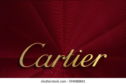 Amsterdam, Netherlands-march 5, 2017: Letters cartier on a display