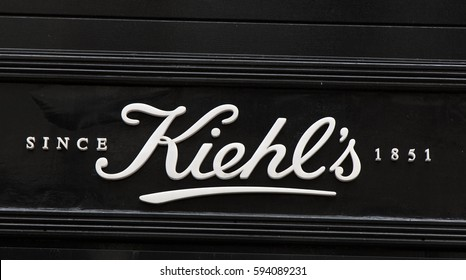 Amsterdam, Netherlands-march 5, 2017: letters kiehl´s in a store in Amsterdam