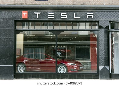 Amsterdam, Netherlands-march 5, 2017: Tesla store in Amsterdam