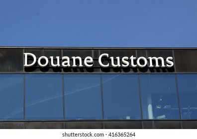Amsterdam, Netherlands-may 5, 2016: Letter douane customs on a building in amsterdam schiphol