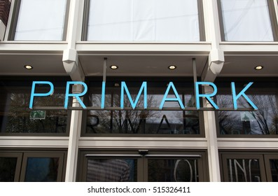 Amsterdam, Netherlands-November 12, 2016: Letters Primark on a store in Amsterdam