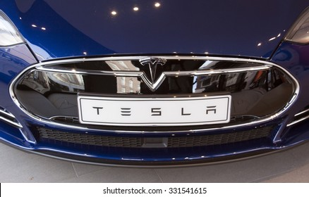 Amsterdam, Netherlands-october 25, 2015: Tesla Car in a showroom in Amsterdam