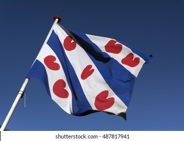 Amsterdam, Netherlands-september 23, 2016: flag of the department friesland in Holland