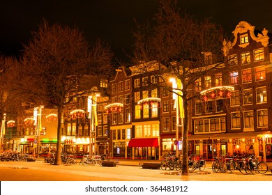 Amsterdam at night in christmas time in the Netherlands