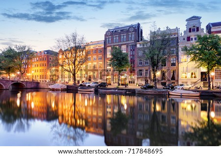 Amsterdam at night - Holland, Netherlands.