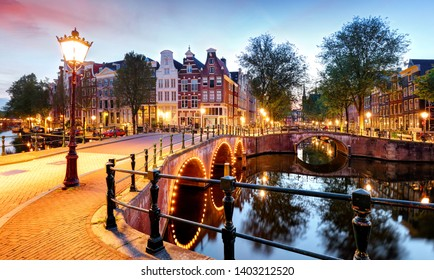 Amsterdam at a night, Netherlands