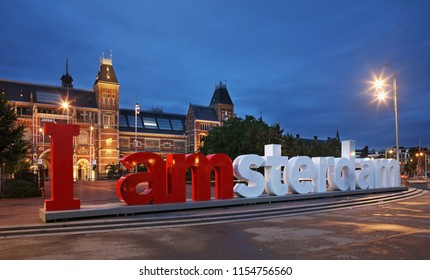 AMSTERDAM. NITHERLANDS. 22 JUNE 2016 : I Am-Sterdam sign near Rijksmuseum - Dutch national museum in Amsterdam. Netherlands