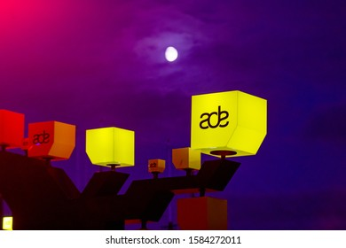 Amsterdam, Noord Holland, Netherlands, 20-10-2018 Amsterdam Dance Event logo at night during ADE