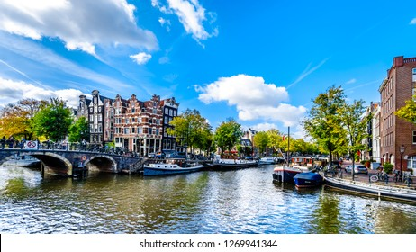 Amsterdam, Noord Holland/the Netherlands - Oct. 3 2018: View of the Prinsengracht canal from the Papiermolensluis bridge in the center of Amsterdam