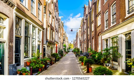 Amsterdam, Noord Holland/the Netherlands - Oct. 3 2018: Flower Pots in front of historic houses in the Langestraat between the Brouwersgracht and Blauwburgwal canals in the center of Amsterdam