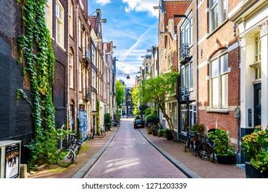 Amsterdam, Noord Holland/the Netherlands - Oct. 3 2018: Flower Pots in front of historic houses in the Binnen Vissersstraat between the Brouwersgracht and Haarlemmerstraat in the center of Amsterdam