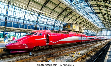 Amsterdam, Noord Holland/the Netherlands - Oct. 3 2018: The high speed Thalys train between Amsterdam and Paris is ready to depart from Amsterdam Central Station