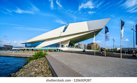 Amsterdam, Noord Holland/the Netherlands - Sept. 28 2018: The futuristic building shape of the Eye Film Museum on the north shore of the harbor named Het IJ