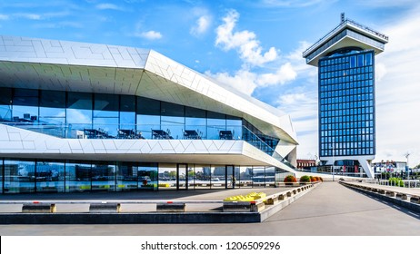 Amsterdam, Noord Holland/the Netherlands - Sept. 28 2018: The futuristic building shape of the Eye Film Museum and the building of the Amsterdam Lookout on the north shore of the harbor named Het IJ