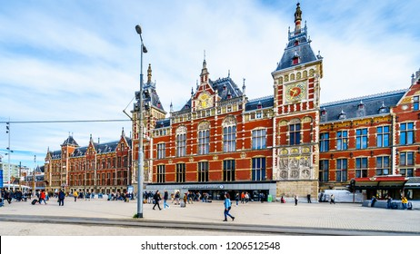 Amsterdam, Noord Holland/the Netherlands - Sept. 28 2018: The historic Centraal Station building of the main train station in the center of Amsterdam