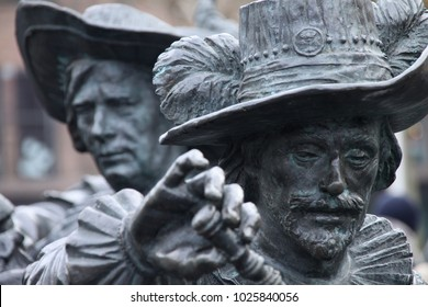 Amsterdam, Noord-Holland, Netherlands - February 10 2018: Statue De Nachtwacht at the Rembrandtplein