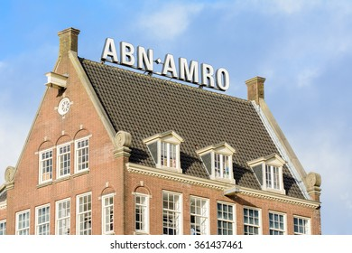 Amsterdam, Noord-Holland/Netherlands -January 08-01-2016 -The Dutch bank ABN-AMRO at damrak. ABN AMRO is a bank that offers a full range of products and services to retail, private, corporate clients.