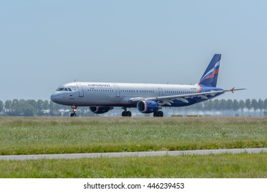 Amsterdam, Noord-Holland/Netherlands - June 13-06-2016 - Airplane Aeroflot - Russian Airlines VQ-BHM Airbus A321-200 is leaving dutch airport Schiphol. Photo taken during take off at daytime.