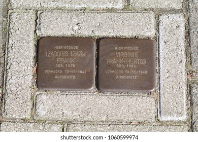 AMSTERDAM, North Holland, The Netherlands, 18 march 2018, stumbling stone in Amsterdam street to remember the victims of the extermination by the nazis during the second world war.