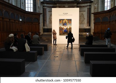 Amsterdam, North Holland, The Netherlands, 26 february 2018, Gazing Ball by Jeff Koons to the Netherlands for series Masterpiece in De Nieuwe Kerk