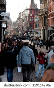 Amsterdam, North Holland, The Netherlands - December 2014: Streets of Amsterdam