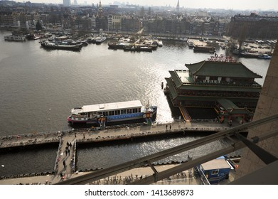AMSTERDAM, NORTH HOLLAND / NETHERLANDS - MARCH 21 2010: View of Chinese Restaurant Sea Palace, Oosterdok and the rest of Amsterdam from the observation floor of OBA central library in Amsterdam.