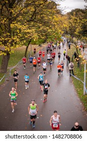 Amsterdam, North Holland / Netherlands - October 15 2014:  Elevated view of running racing through Vondelpark during the Amsterdam Marathon