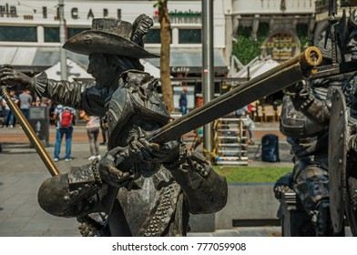Amsterdam, northern Netherlands - June 26, 2017. Bronze sculpture of XVII century soldiers on the Rembrandt Square in Amsterdam. Famous for its huge cultural activity, graceful canals and bridges.