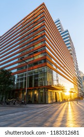 Amsterdam, North-Holland / Holland - September 16 2018: Nice reflections from building in Zuidas