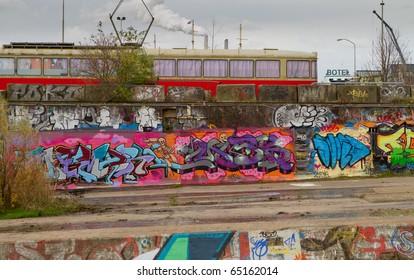 AMSTERDAM - NOVEMBER 7: Graffiti on NDSM-werf - city-sponsored art community called Kinetisch Noord, center for underground culture in Amsterdam on November 7, 2010 in Amsterdam, Netherlands