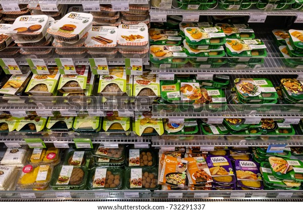 Amsterdam, October 2017. Display with a large collection of vegetarian products and meat alternatives in a supermarket
