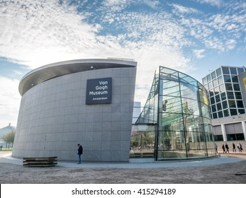 AMSTERDAM - OCTOBER 3: Van Gogh museum building outstanding with design architectured in Amsterdam, Netherlands, on October 3, 2015.