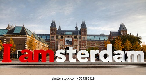 AMSTERDAM - OCTOBER 30: I Amsterdam slogan on October 30, 2016 in Amsterdam, Netherlands. Located at the back of the Rijksmuseum on Museumplein, the slogan quickly became a city icon.