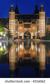 The Amsterdam Reichsmuseum at night - famous art museum