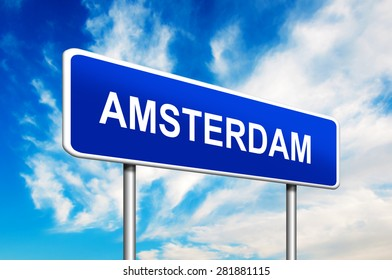 Amsterdam Road Sign. Netherlands