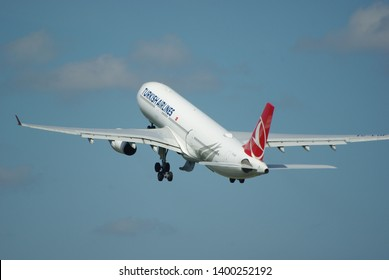 Amsterdam schiphol airport, The Netherlands, 16 may 2019, Turkish airlines Airbus A330 taking off