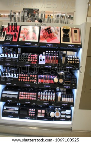 Amsterdam Schiphol Airport, the Netherlands - april 14th 2018  various  luxurious Lancome cosmetic products 4cab85cdce22