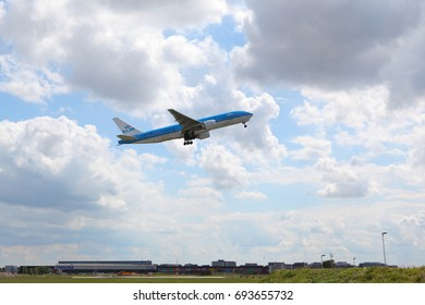 AMSTERDAM, SCHIPHOL AIRPORT, THE NETHERLANDS – AUGUST 6, 2017:KLM Royal Dutch Airlines passenger plane takes off in the Amsterdam Schiphol Airport