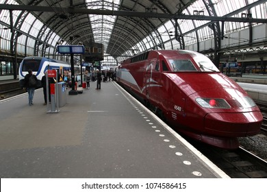 AMSTERDAM SCHIPHOL, THE NETHERLANDS – APRIL 11 , 2018 :Thalys train at the station of Amsterdam. This train is a fast connection to Paris in France