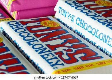 AMSTERDAM, SCHIPHOL, NETHERLANDS, AUGUST 24, 2018: Close up of Tony's Chocolonely chocolate bars in store