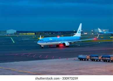 Amsterdam - Schiphol, Netherlands - February 2, 2014. Airlines KLM Boeing-737 arrived at Schiphol Airport the night