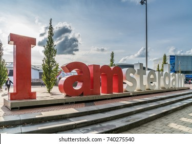 Amsterdam, September 17th 2017:  iAmsterdam sign in front of the RAI Congres and exhibition center during the IBC (International Broadcast Convention)