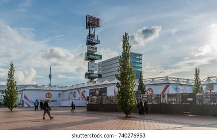 Amsterdam, September 17th 2017:  visitors walkingin front of the RAI Congres and exhibition center during the IBC (International Broadcast Convention)