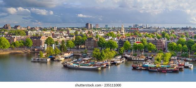 Amsterdam Skyline Aerial Panorama, The Netherlands.