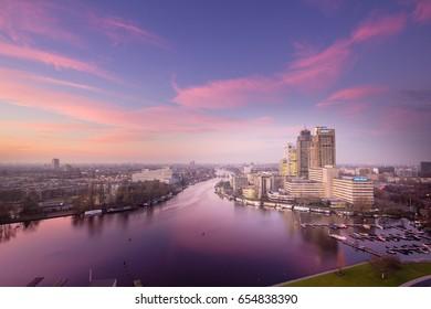 Amsterdam skyline at sunset, Amstel Business Park, 07-12-2015