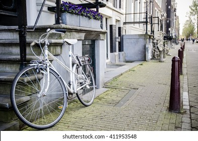 Amsterdam street with bike