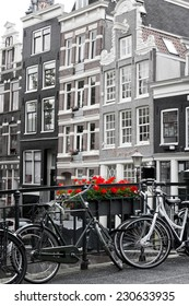 Amsterdam street scene with old bicycles against a backdrop of traditional Merchant houses. Black and white with selective colouring on flowers.