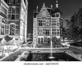 Amsterdam at summer black-white photo. Famous national Rijks museum general view.