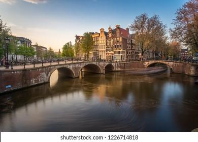 Amsterdam sunset at dusk
