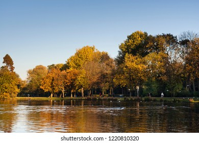 Amsterdam Vondelpark in autumn. Vondelpark is in the center of the capital of the Netherlands.